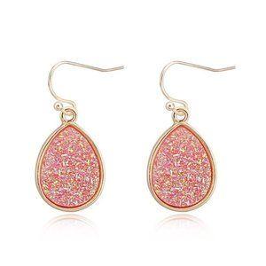 3/$20 Pink & Gold Druzy Tear Drop Earrings